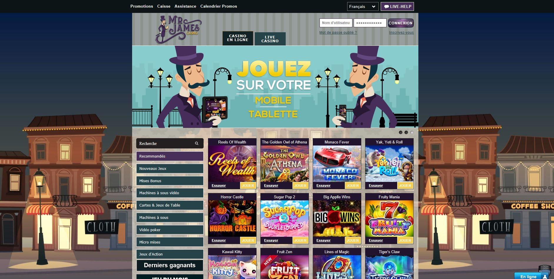 Mr James Casino : notre avis pour vous parler de ses prestations